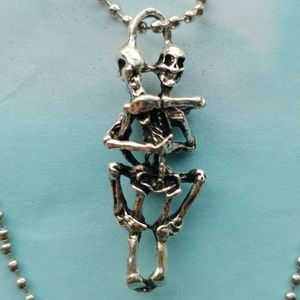 Entertwined Skeleton Lovers Ball Chain Necklace